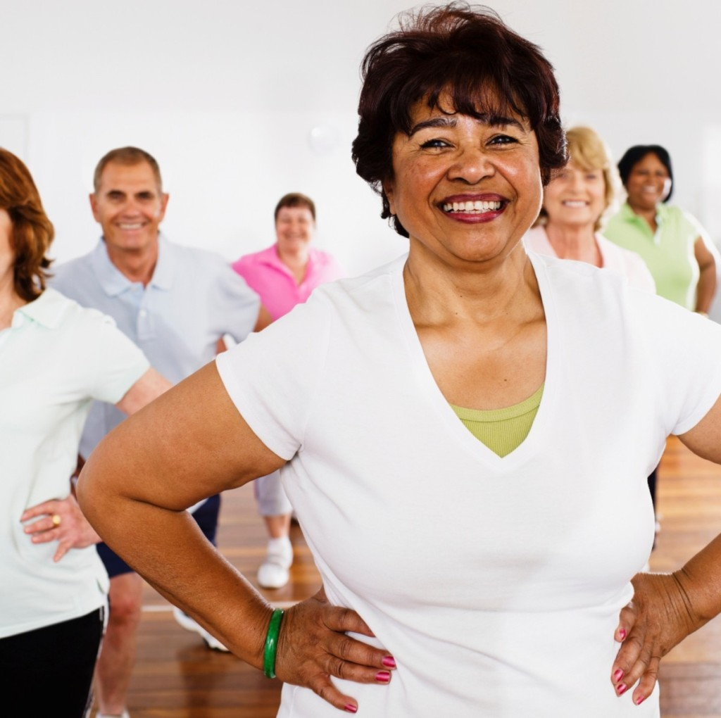 Active seniors taking exercise class