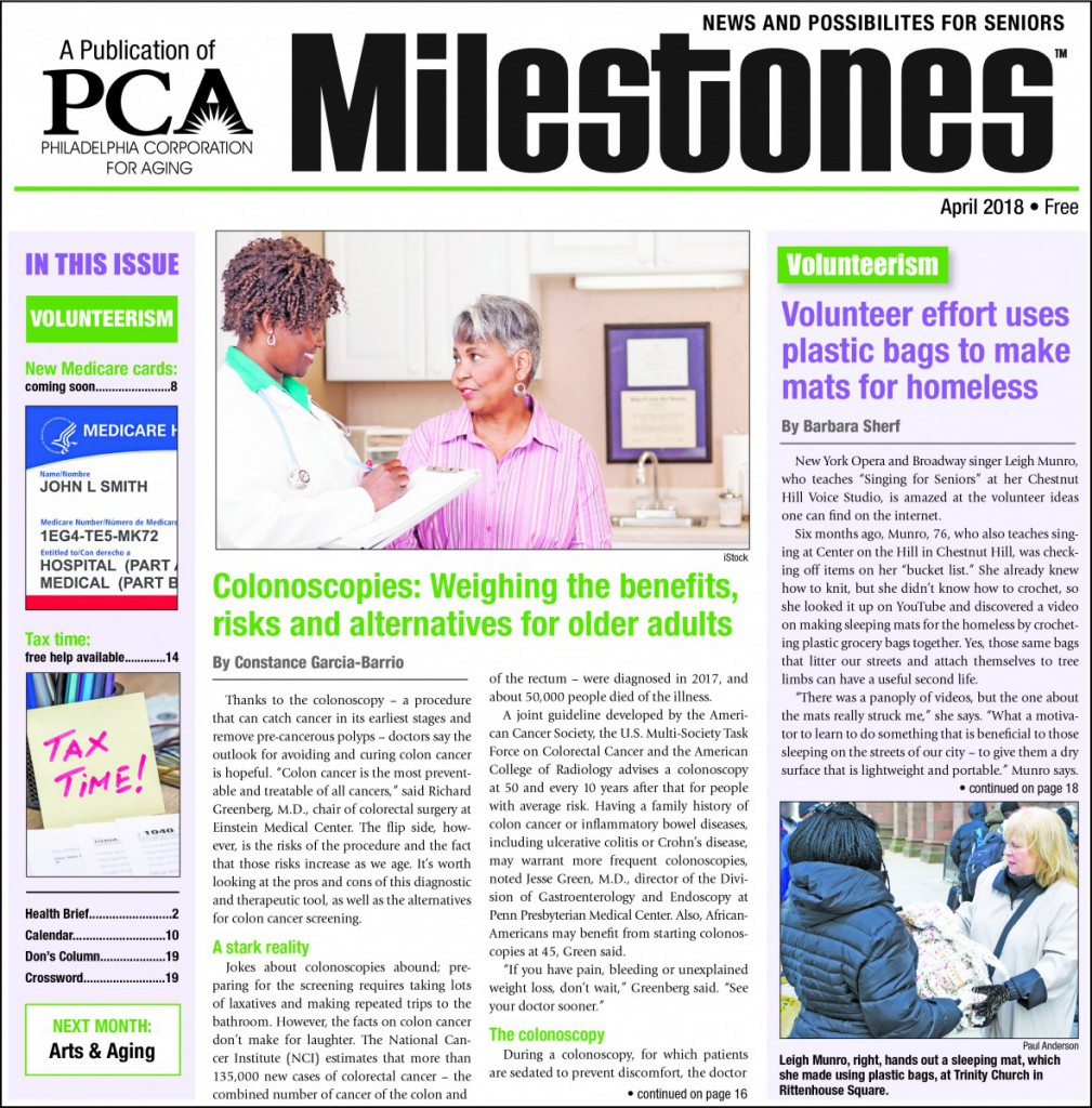 April 2018 Milestones newspaper cover, theme: volunteerism