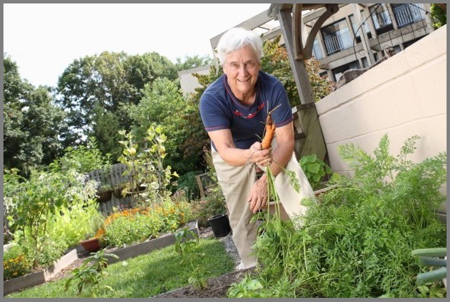 Sarah West, a resident of Cathedral Village continuing care retirement community, enjoys horticultural pursuits there. (Photo courtesy of Presbyterian Senior Living)