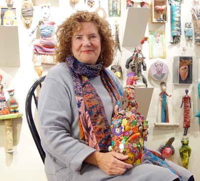 Ellen Benson left her career in banking behind in favor of creating mixed-media and found-object art. (Photo by Barbara Sherf)