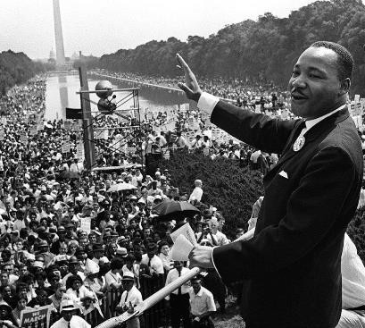 Dr. Martin Luther King, Jr. addresses an estimated crowd of 250,000 at the 1963 March on Washington.