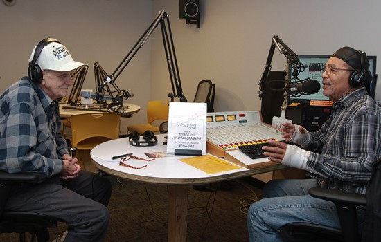 Hosting 'Labor Justice Radio' on WPPM 105.FM are Jim Moran (left) and Charles Clarke. (Photo by Paola Nogueras)